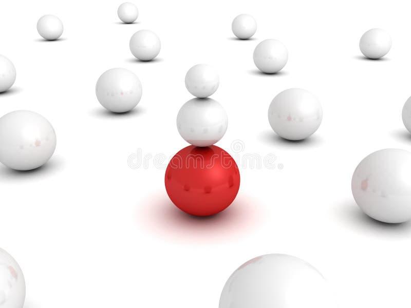 Het verschillende rode gebied van de leidersbal in andere witte menigte vector illustratie