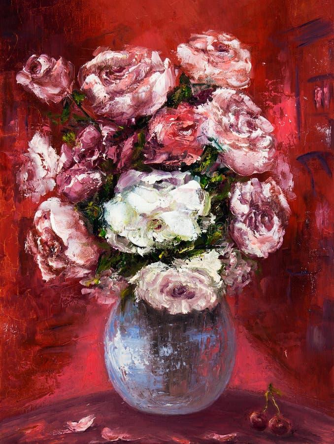 Het verse bloemen schilderen royalty-vrije illustratie