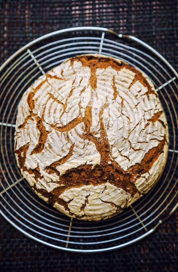 Het verse brood van de roggebloem stock foto's