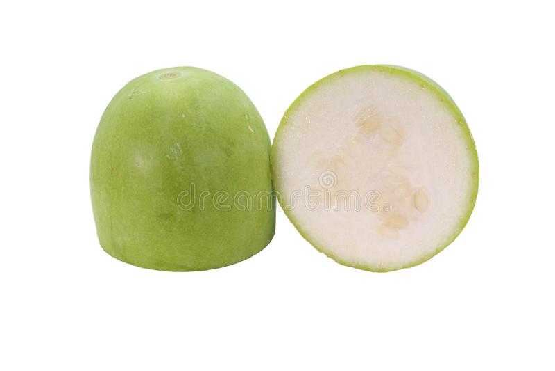 Het verse die fruit van de de Wintermeloen op witte achtergrond wordt geïsoleerd royalty-vrije stock afbeeldingen