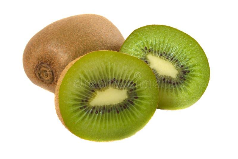 Het verse Fruit van de Kiwi over wit stock fotografie