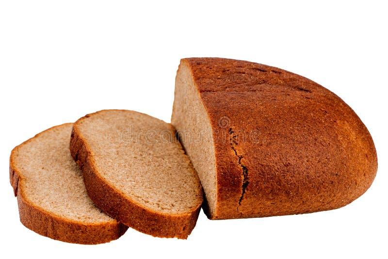 Het verse gesneden die brood van het roggebrood op wit knipsel wordt geïsoleerd als achtergrond royalty-vrije stock fotografie
