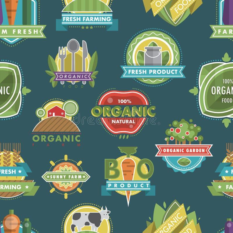 Het verse gezonde organische van de het embleemaard van het veganistvoedsel het productvoedsel etiketteert en etiketteert vector  royalty-vrije illustratie