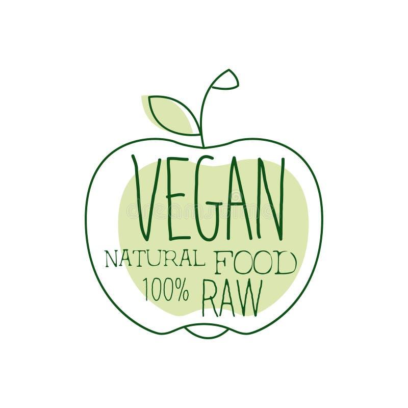 Het verse Promotieteken van het Veganistvoedsel met Apple-Silhouet voor Vegetariër, Veganist en het Ruwe Menu van het Voedseldiee vector illustratie