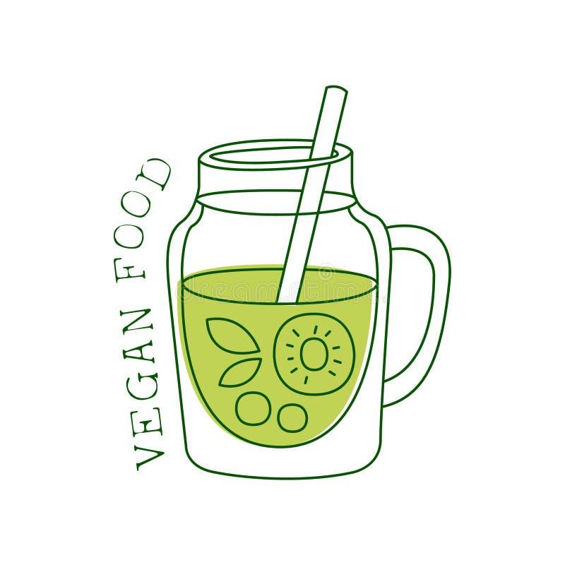Het verse Promotieteken van het Veganistvoedsel met Groen Fruit Smoothie voor Vegetariër, Veganist en het Ruwe Menu van het Voeds vector illustratie