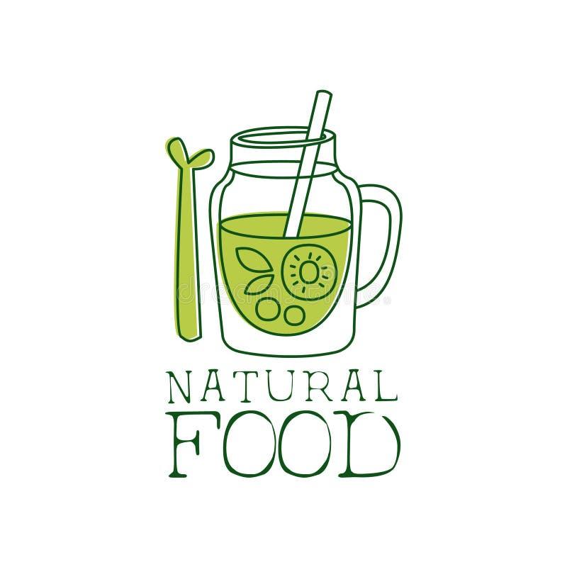 Het verse Promotieteken van het Veganistvoedsel met Smoothie en Asperge voor Vegetariër, Veganist en het Ruwe Menu van het Voedse stock illustratie