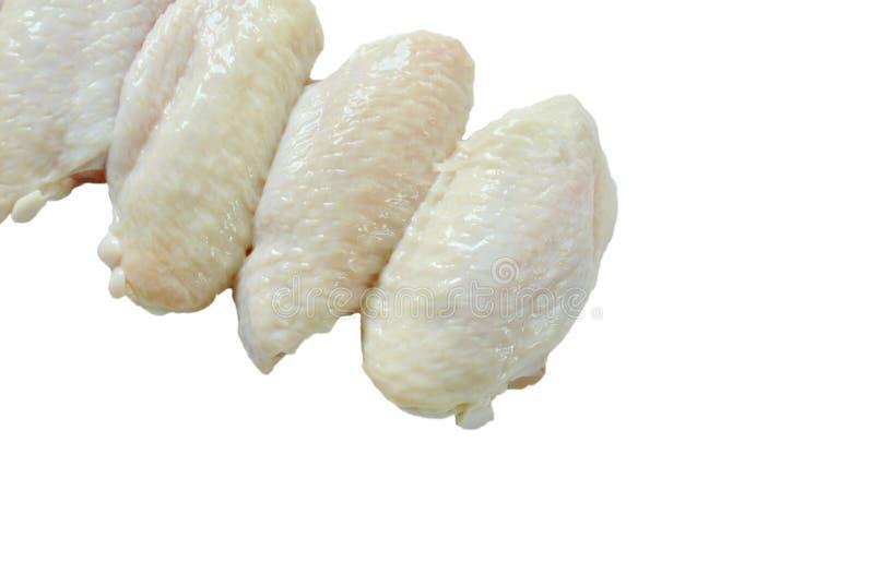 Het verse ruwe voedsel van de kippenvleugel op witte achtergrond royalty-vrije stock afbeeldingen