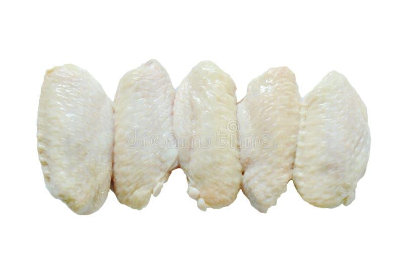 Het verse ruwe voedsel van de kippenvleugel op witte achtergrond royalty-vrije stock foto