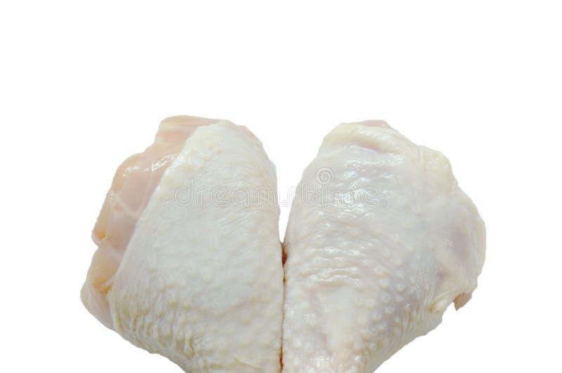 Het verse ruwe voedsel van het kippenbeen op witte achtergrond royalty-vrije stock foto's