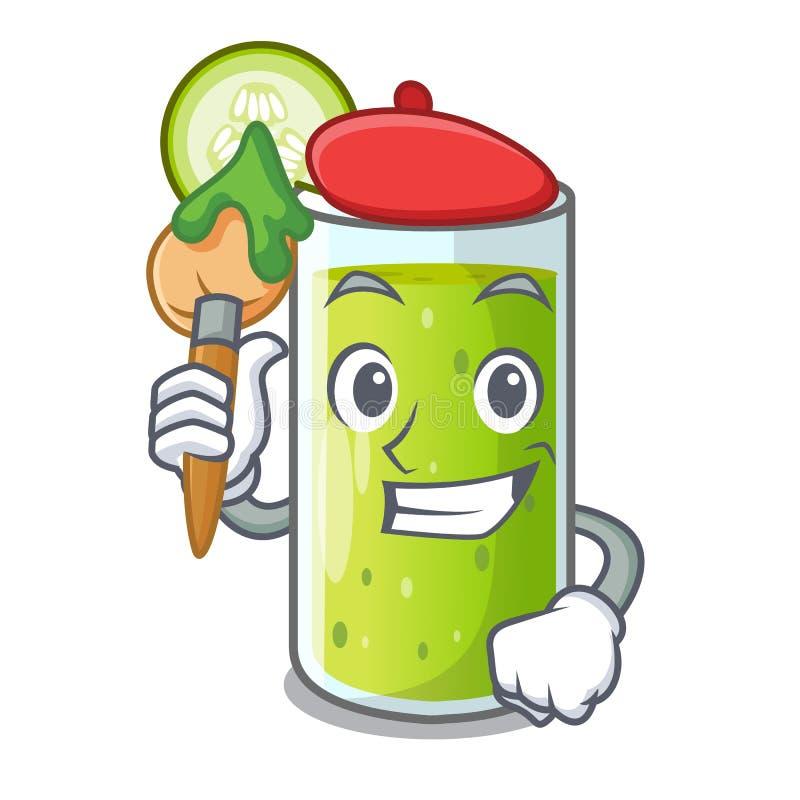 Het verse sap van het kunstenaarskarakter van groene komkommer stock illustratie