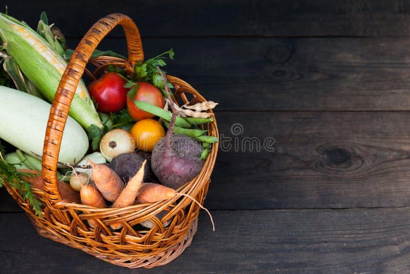 Het verse vegetarische voedsel van de de herfsttuin, organisch landbouwbedrijfconcept Exemplaarruimte voor tekst stock foto's