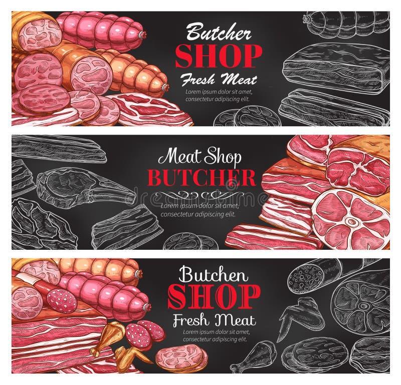 Het verse vleesbanners van de slagerij vectorschets stock illustratie