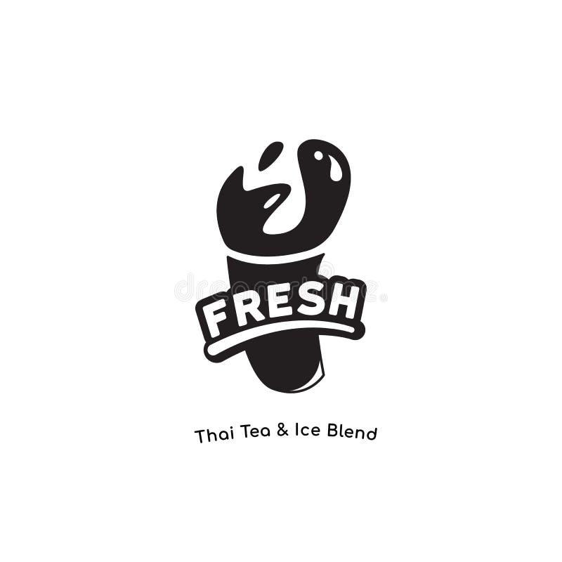Het verse Yummy embleem voor milkshake, Thaise thee, chocolade, sap, smoothie drinkt merk in één kleurengoed voor druk royalty-vrije illustratie