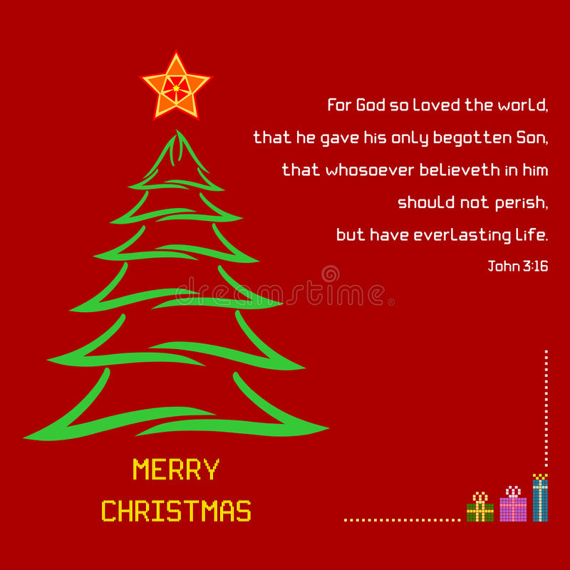Het versjohn van de Kerstmis Heilig Bijbel 3:16 vector illustratie