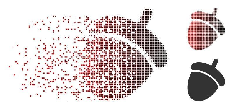 Het verspreide Pictogram van de Pixel Halftone Eikel stock illustratie