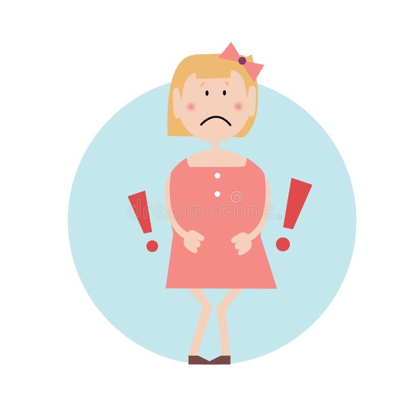 Het verstoorde meisje drukt handen tegen haar maag alsof in pijn Tekens van een madical voorwaarde Exclmationtekens Geïsoleerde vector illustratie
