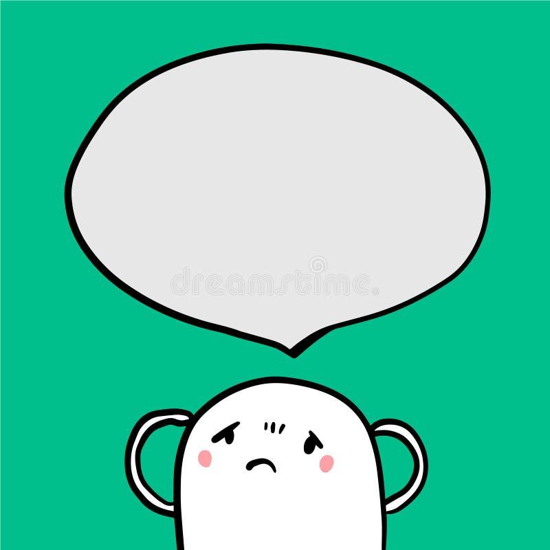 Het verstoorde monster in van de depressiehoofdpijn en toespraak bel touquoise doopvonthand getrokken illustratie vector illustratie