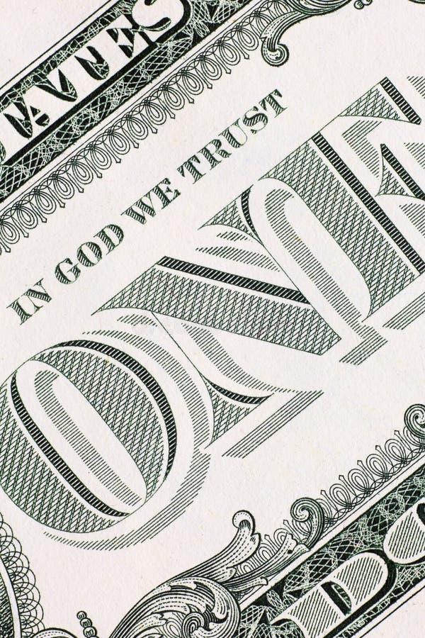 Het verticale detail van het één dollarbankbiljet, royalty-vrije stock afbeeldingen
