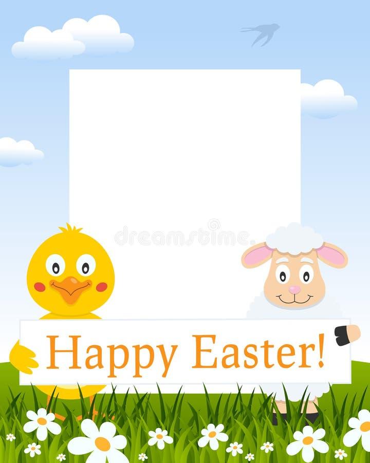 Het Verticale Kader van Pasen - Kuiken en Lam vector illustratie