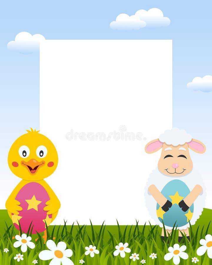 Het Verticale Kader van Pasen - Kuiken & Lam royalty-vrije illustratie