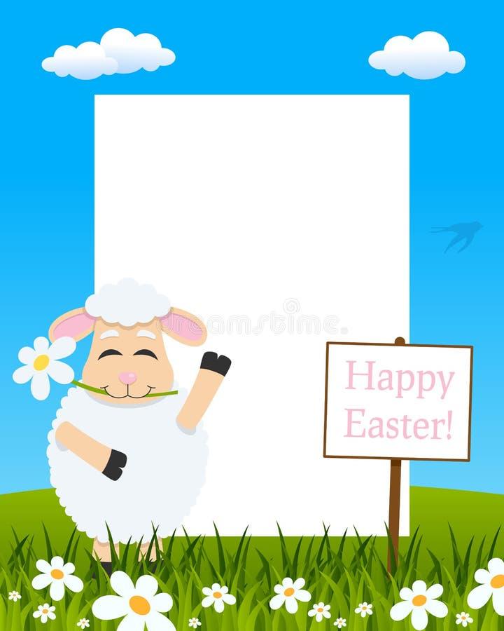 Het Verticale Kader van Pasen - Lam met Bloem royalty-vrije illustratie