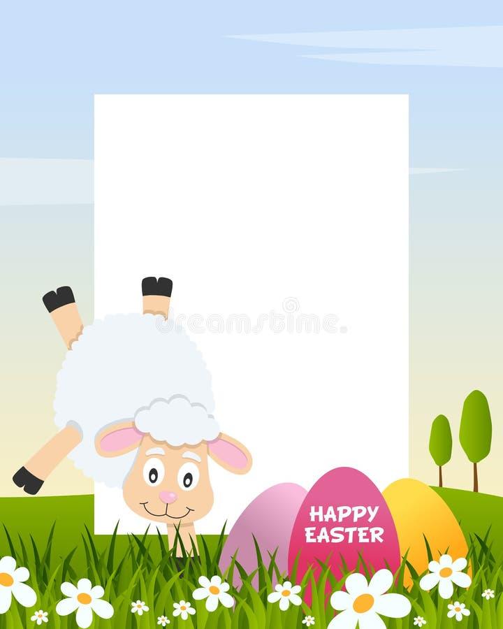 Het Verticale Kader van Pasen met Eieren & Lam royalty-vrije illustratie