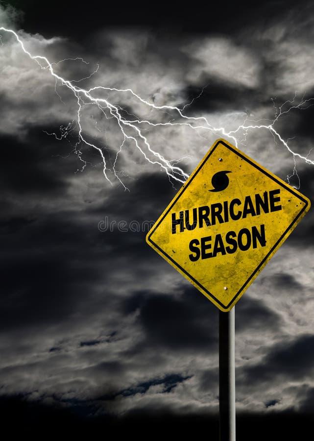 Het verticale Teken van het Orkaanseizoen met Stormachtige Achtergrond stock afbeelding