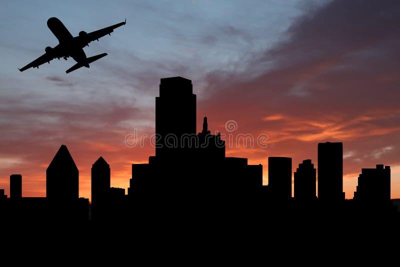 Het vertrekken Dallas van het vliegtuig vector illustratie