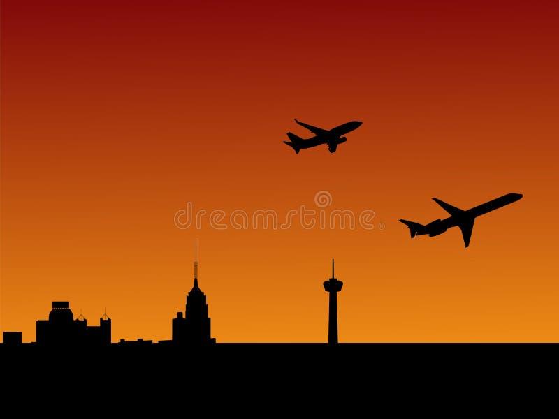 Het vertrekken San Antonio van vliegtuigen stock illustratie