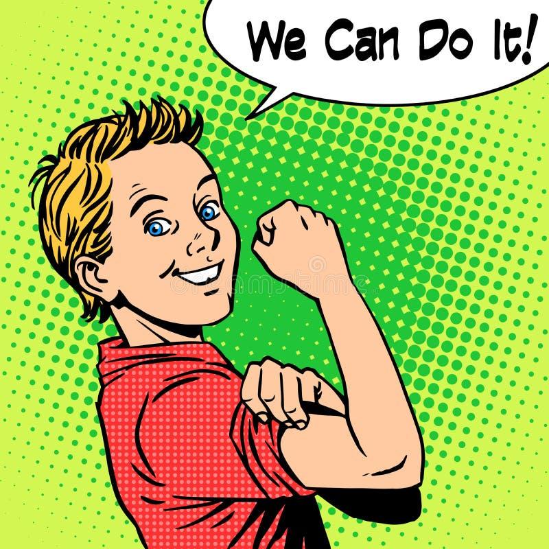 Het vertrouwen van de jongensmacht kunnen wij het doen royalty-vrije illustratie