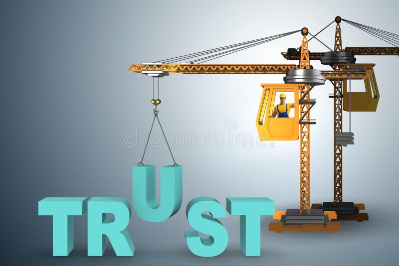 Het vertrouwensconcept met kraan en woorden stock illustratie