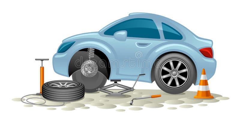 Het vervangen van wielen op auto royalty-vrije illustratie