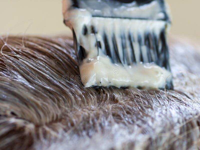 Het verven van grijs haar. royalty-vrije stock foto's