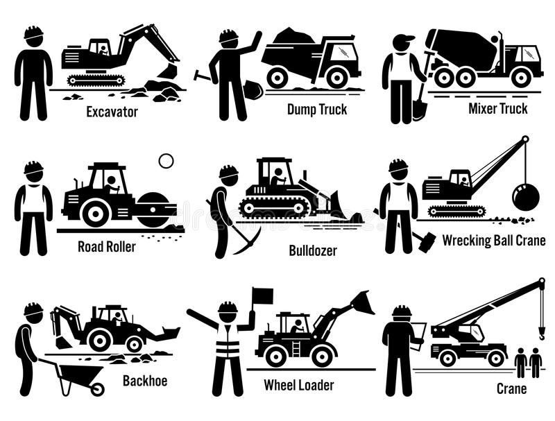 Het Vervoer en Arbeider Vastgestelde Clipart van bouwvoertuigen royalty-vrije illustratie