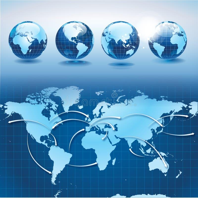 Het vervoer en de logistiek van de wereld met aarde glob stock illustratie