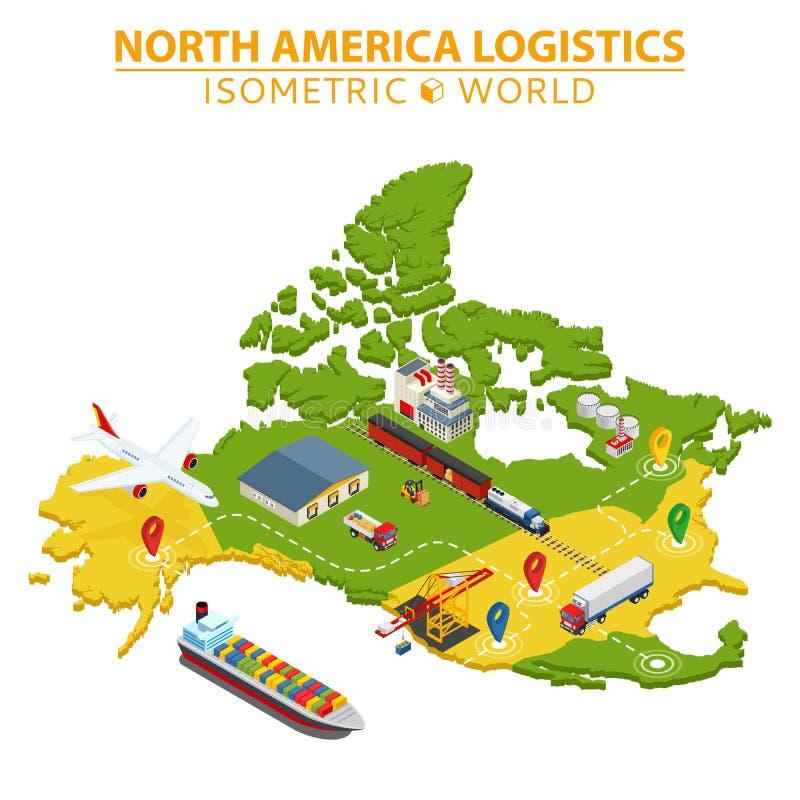 Het vervoer en de logistiek van de V.S. Levering en verschepende infographic elementen stock illustratie