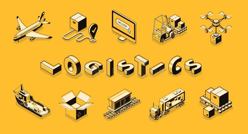 Het vervoer isometrische vectorreeks van het leveringsbedrijf stock illustratie