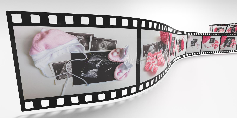 Het verwachten van babyfoto's op filmstrook 3D teruggegeven illustratie vector illustratie