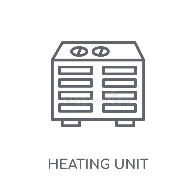 Het verwarmen Eenheids lineair pictogram Moderne overzicht het Verwarmen conce van het Eenheidsembleem vector illustratie