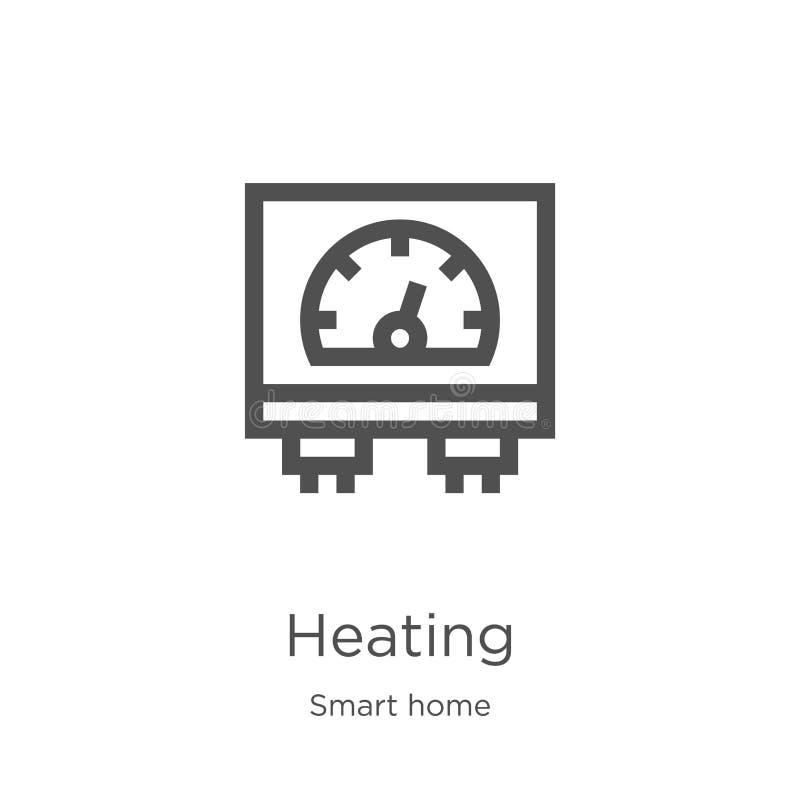 het verwarmen pictogramvector van slimme huisinzameling De dunne lijn het verwarmen vectorillustratie van het overzichtspictogram stock illustratie