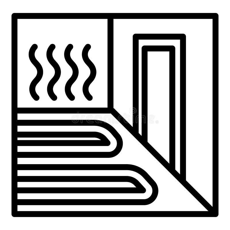 Het verwarmende pictogram van de vloerruimte, overzichtsstijl stock illustratie