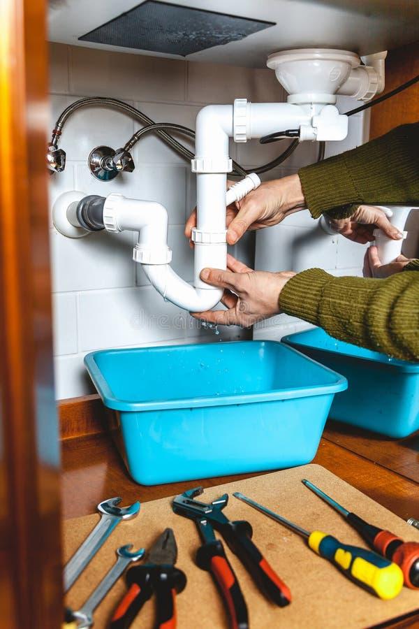 Het verwijderen van het plastic systeem van de keukenwaterkering royalty-vrije stock afbeelding