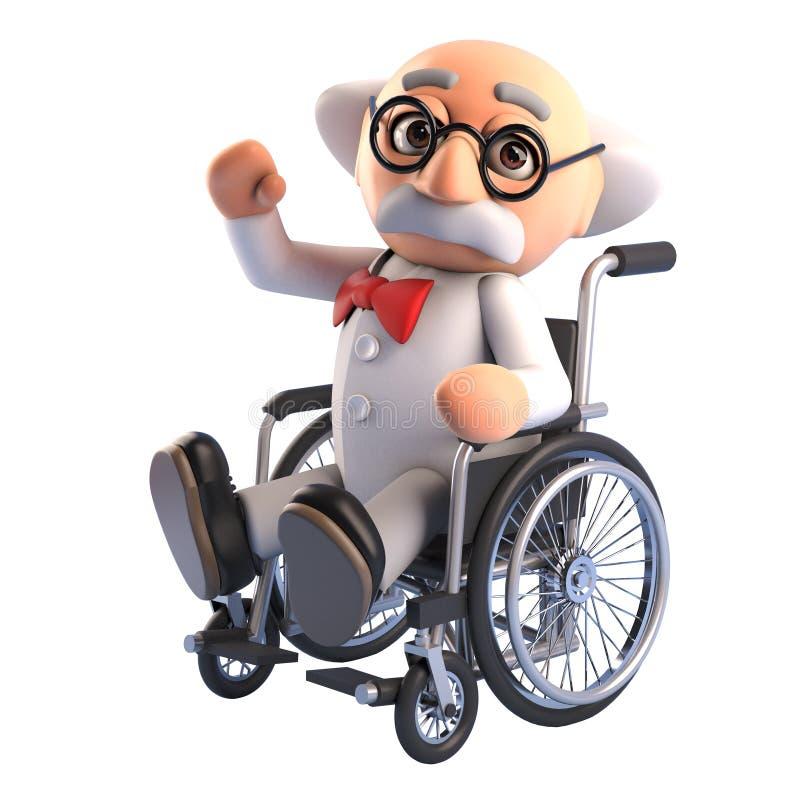 Het verwonde gekke karakter van de wetenschapperprofessor moet een rolstoel gebruiken ongeveer te worden, 3d illustratie vector illustratie