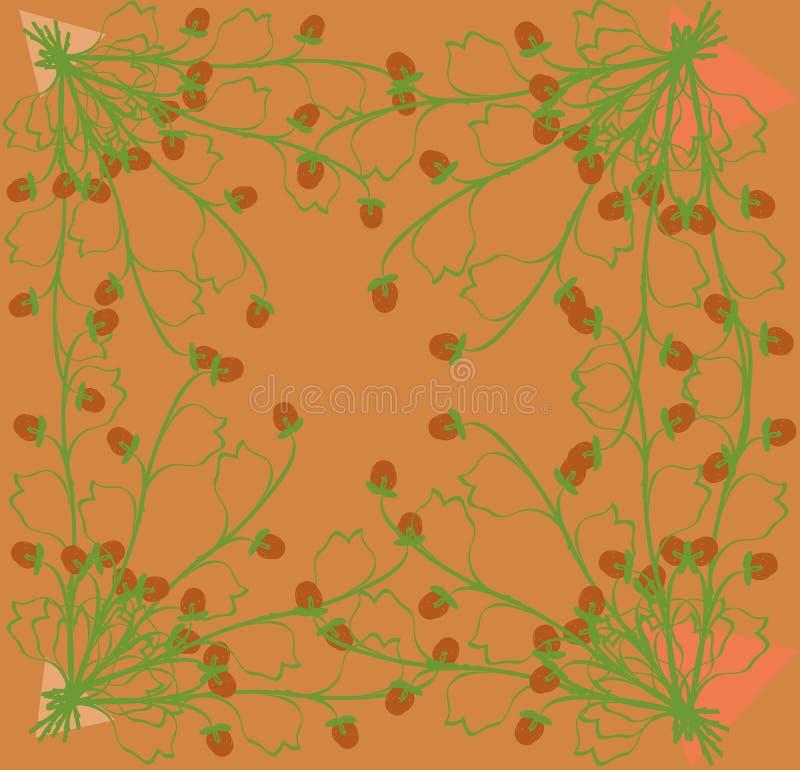 Het verzamelen van kruidenaardbeien op een heldere oranje achtergrond vector illustratie