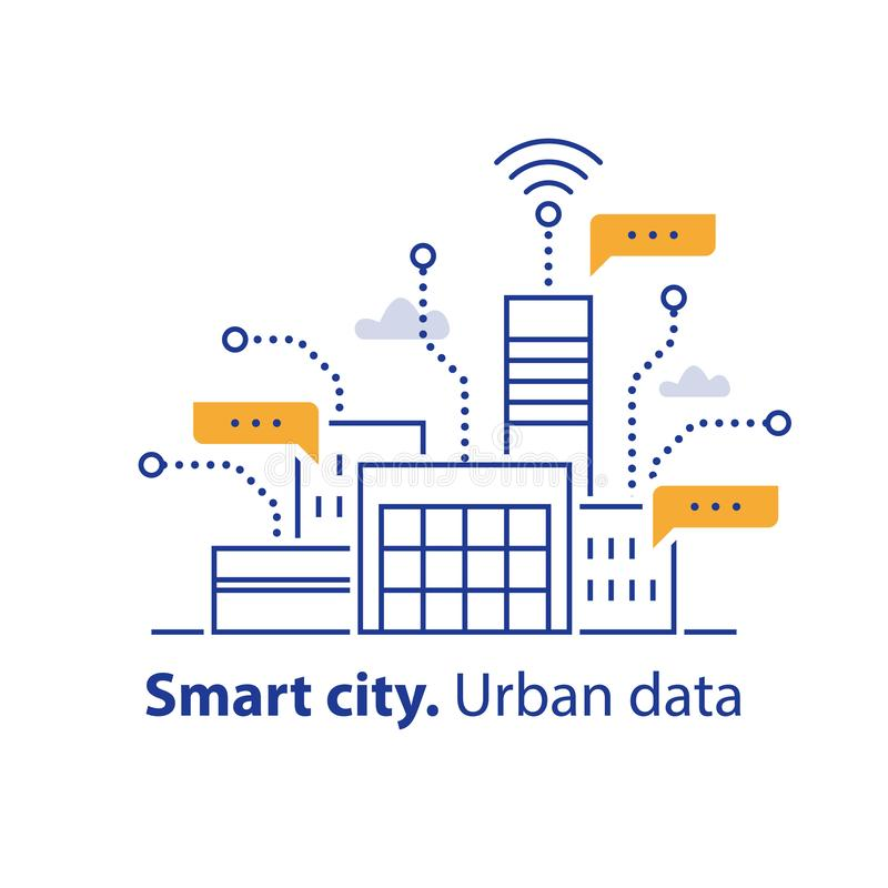 Het verzamelen van stedelijke gegevens, slimme stad, de geschikte diensten, moderne technologie, de bureaubouw gebied vector illustratie