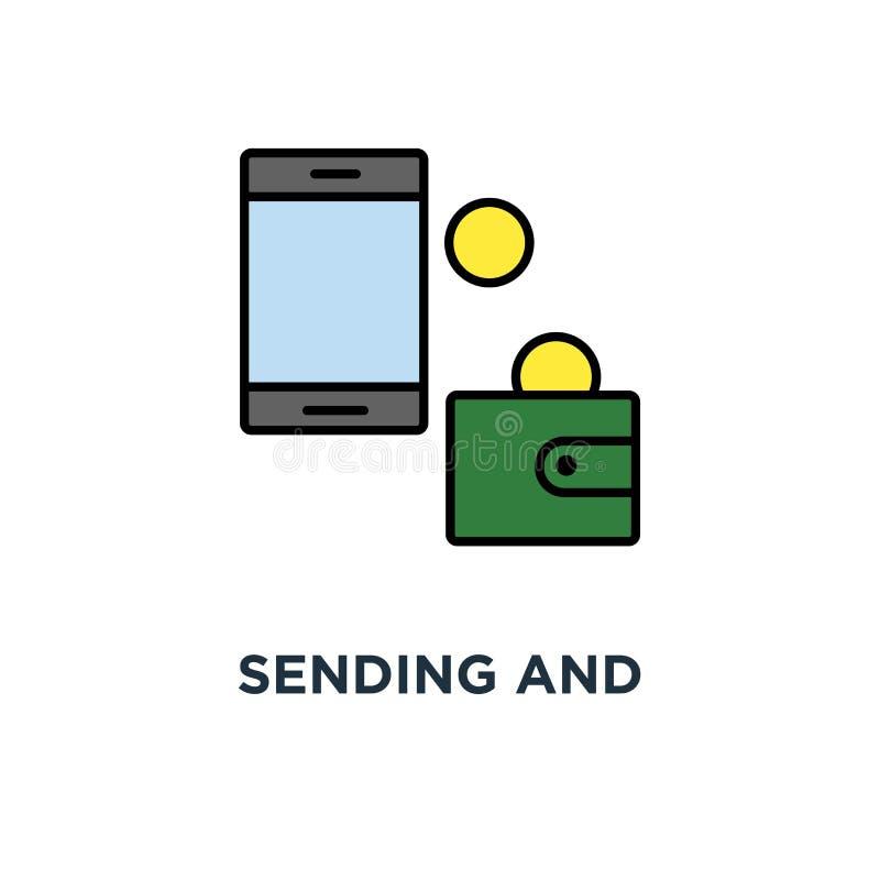 het verzenden van en het ontvangen van geldradio met van portefeuille aan mobiel telefoonpictogram, symbool van bankwezenbetaling vector illustratie