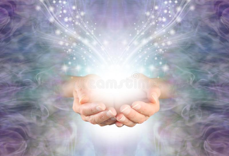 Het verzenden van Hoge Resonantie Helende Energie door de Ether naar u stock illustratie