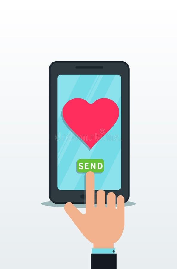 Het verzenden van liefdebericht die vlakke smartphone met roze hartpictogram gebruiken op touch screen De vingerduw verzendt knoo stock illustratie