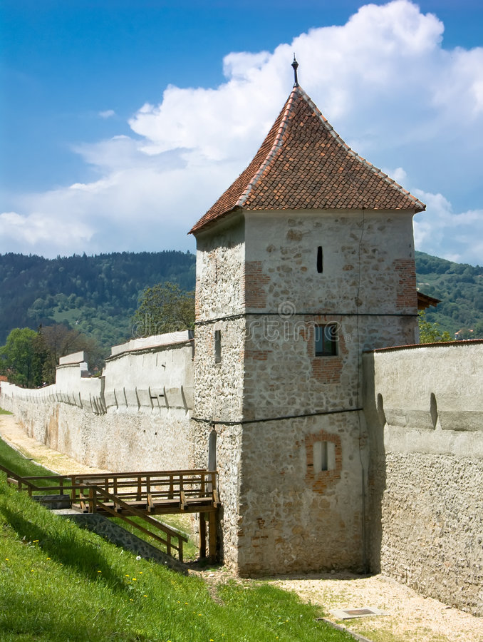 Het vestingwerk van Brasov, Roemenië royalty-vrije stock foto's