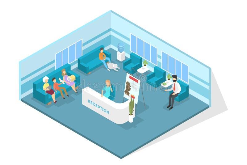 Het veterinaire binnenland van de kliniekontvangst met vele bezoekers stock illustratie